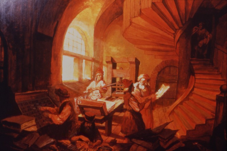 Concept art illustration of printing press scene showing printers at the press