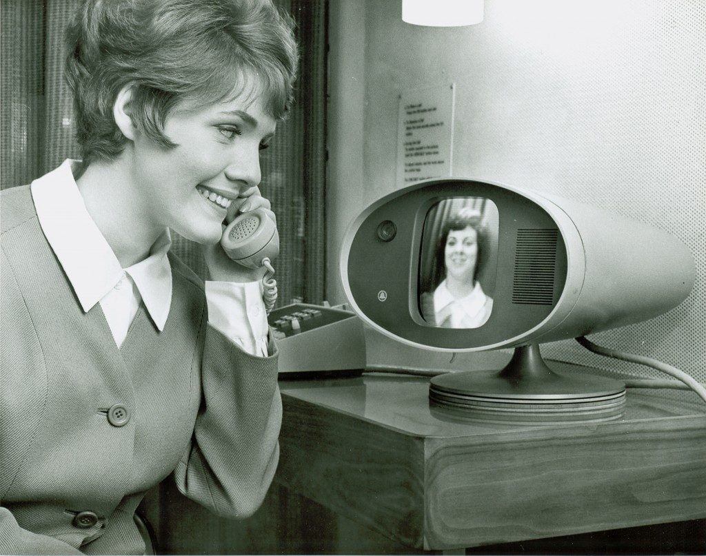 The Bell Picturephone featuring two women having a video call.