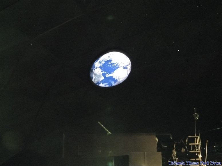 Scene from Spaceship Earth, the view of Earth as seen from your ride vehicle at the top of the dome