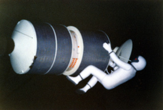 Vintage Spaceship Earth scene of astronaut servicing a satellite
