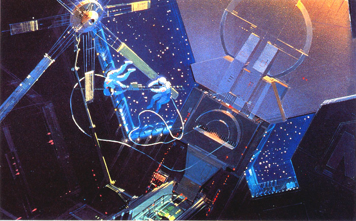 Concept art shows two astronauts working on a satellite in space