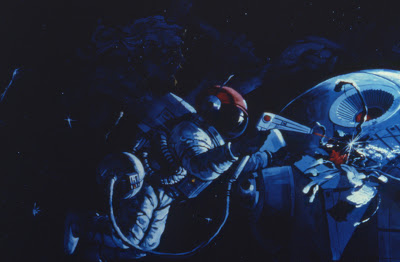 Concept art shows space walker working on space station