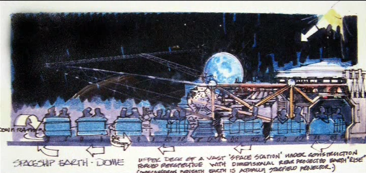 Concept art of the ride vehicles witnessing the rise of Earth