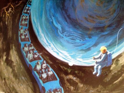 Concept art shows ride vehicles traveling past planet Earth and seeing a space walk in outer space