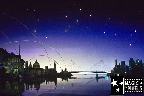Vintage Spaceship Earth scene of world cities connected by fiber optic lights
